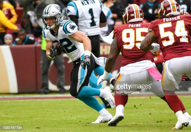 Carolina Panthers running back Christian McCaffrey in action against Washington Redskins defensive tackle Da'Ron Payne on October 14 at FedEx Field...
