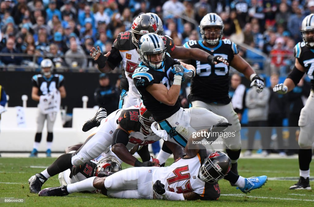 Carolina Panthers running back Christian McCaffrey (22) runs during the game between the Tampa Bay Buccaneers and the Carolina Panthers on December 24, 2017 at Bank of America Stadium in Charlotte, NC.