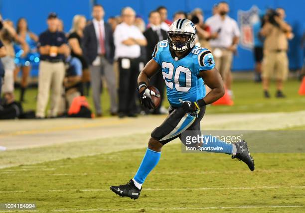 Carolina Panthers running back CJ Anderson breaks free and runs down the sideline for a big gain on the play during a preseason game between the New...