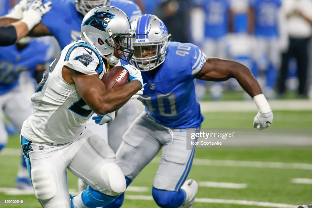 Carolina Panthers running back Jonathan Stewart (28) runs with the ball during game action between the Carolina Panthers and the Detroit Lions on October 8, 2017 at Ford Field in Detroit, Michigan. Carolina defeated Detroit 27-24.