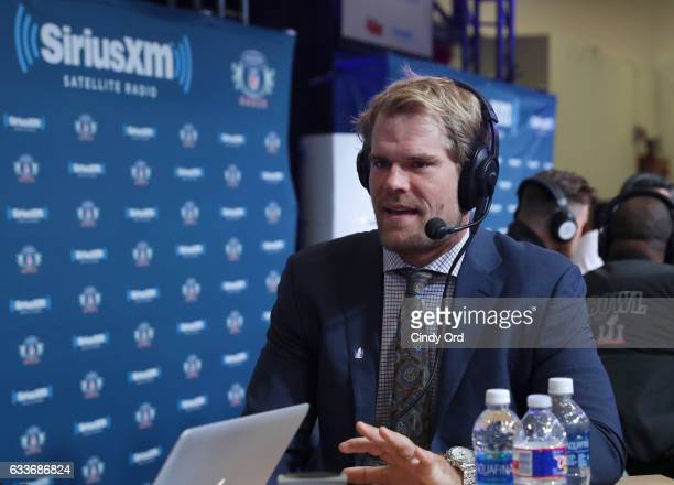 Carolina Panthers tight end Greg Olsen visits the SiriusXM set at Super Bowl LI Radio Row at the George R Brown Convention Center on February 3 2017...