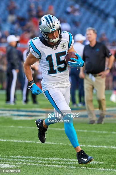 Carolina Panthers wide receiver Chris Hogan warms up prior to game action during a NFL preseason game between the Carolina Panthers and the Chicago...