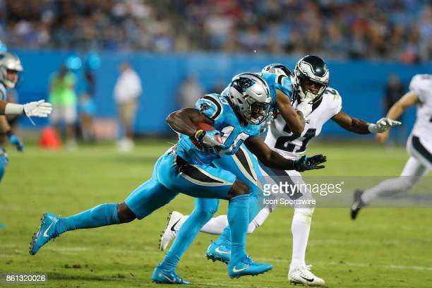 Carolina Panthers wide receiver Curtis Samuel tries to get past Philadelphia Eagles defensive back Patrick Robinson on a kickoff return during second...