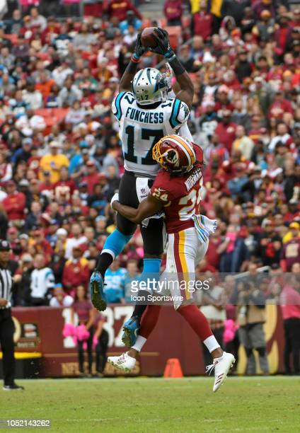 Carolina Panthers wide receiver Devin Funchess goes high in the air to pull down a second half pass against Washington Redskins cornerback Josh...