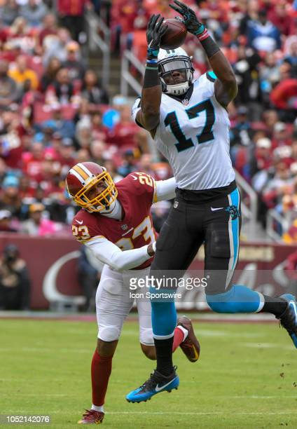 Carolina Panthers wide receiver Devin Funchess makes a second quarter reception against Washington Redskins cornerback Quinton Dunbar in action on...