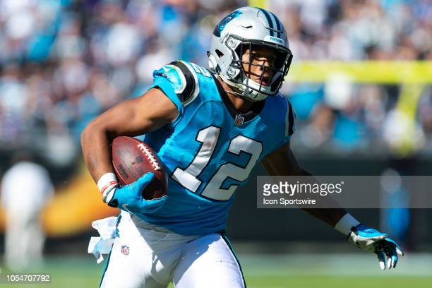 Carolina Panthers wide receiver DJ Moore runs for yards after a catch against the Baltimore Ravens on October 28 at Bank of America Stadium in...