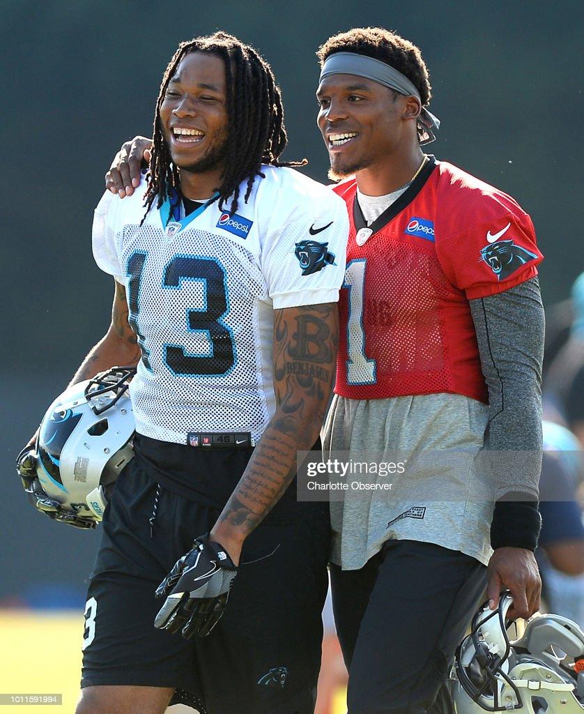 Carolina Panthers Wide Receiver Kelvin Benjamin Left And Quarterback Cam Newton Joke With One