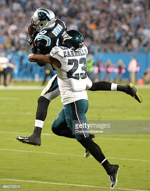 Carolina Panthers wide receiver Philly Brown catches a pass from quarterback Cam Newton as Philadelphia Eagles cornerback Nolan Carroll looks to make...