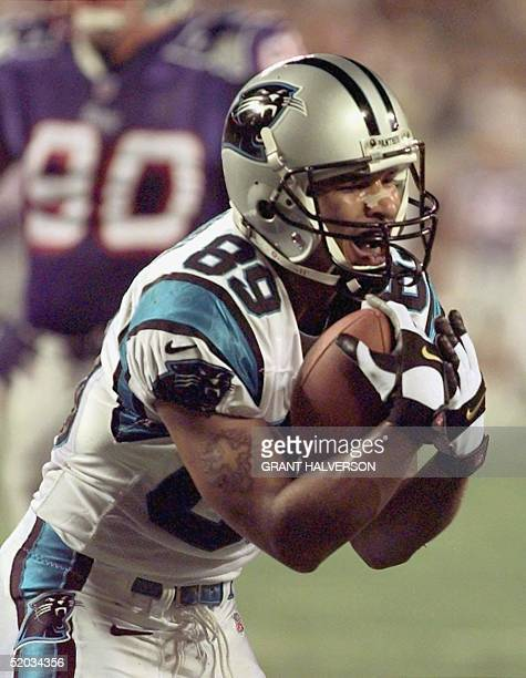 Carolina Panthers' wide receiver Rae Carruth pleads his case with the officials after having an apparent catch ruled an incomplete pass during the...
