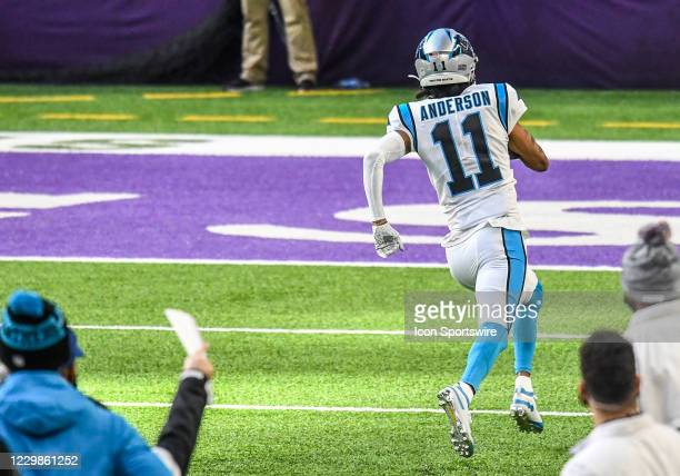 Carolina Panthers Wide Receiver Robby Anderson heads to the end zone after catching a pass from Carolina Panthers Quarterback Teddy Bridgewater for a...