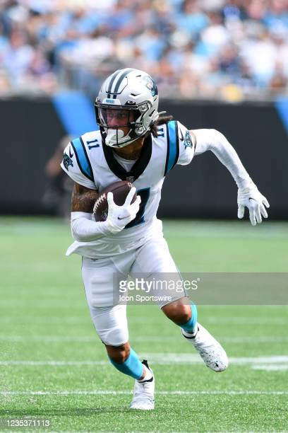 Carolina Panthers wide receiver Robby Anderson runs after a short pass during the game between the New Orleans Saints and the Carolina Panthers on...