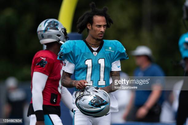 Carolina Panthers wide receiver Robby Anderson runs through a drill during the Indianapolis Colts and Carolina Panthers joint training camp practice...
