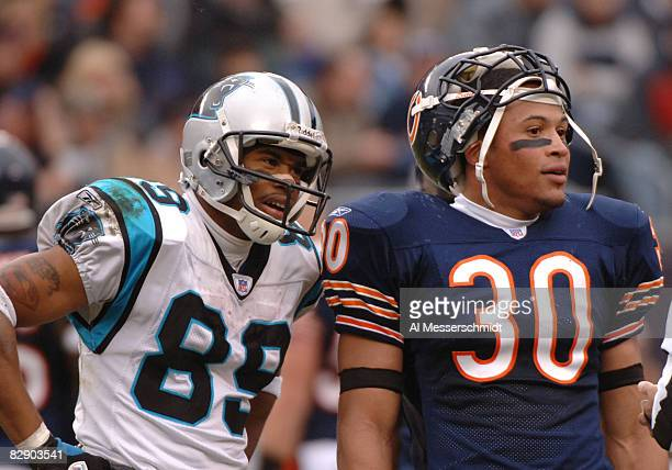 Carolina Panthers wide receiver Steve Smith and Chicago Bears safety Mike Brown set for play at Soldier Field in Chicago Illinois on November 20 2005