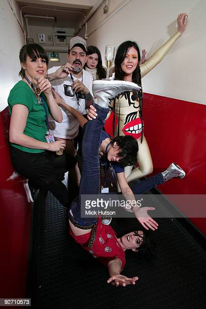 Carolina Parra Adriano Cintra Lovefoxxx Iracema Trevisan Luiza Sa and Ana Rezende of CSS pose for a group portrait backstage at Brixton Academy on...