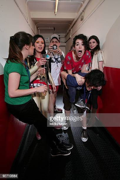 Carolina Parra Lovefoxxx Adriano Cintra Ana Rezende Luiza Sa and Iracema Trevisan of CSS pose for a group portrait backstage at Brixton Academy on...