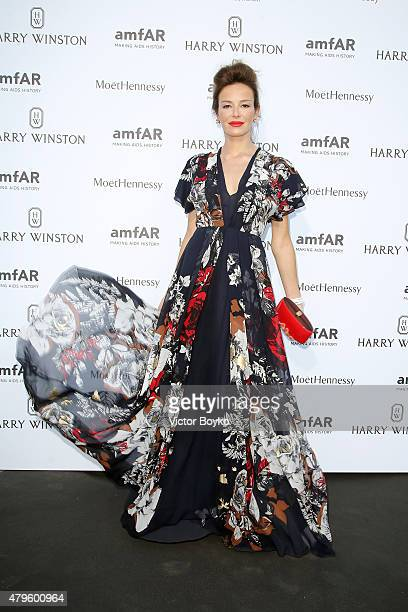 Carolina Parsons attends the amfAR dinner at the Pavillon LeDoyen during the Paris Fashion Week Haute Couture on July 5 2015 in Paris France