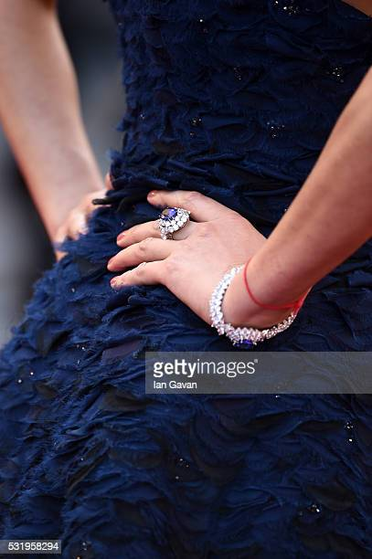 Carolina Parsons detail attends the Julieta premiere during the 69th annual Cannes Film Festival at the Palais des Festivals on May 17 2016 in Cannes...
