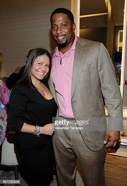 Carolina Patino and Randy Starks are seen at David Yurman InStore Shopping Event Hosted by Randy Starks To Benefit The Florida Breast Cancer...