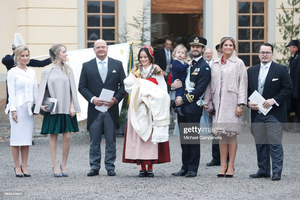 Carolina Pihl, Sara Hellqvist, Thomas de Toledo Sommerlath, Prince Gabriel of Sweden, Duke of Dalarna held by Princess Sofia of Sweden and Prince Carl Philip holding Prince Alexander, Duke of Sodermanland, Princess Madeleine and Oscar Kylberg attends the christening of Prince Gabriel of Sweden at Drottningholm Palace Chapel on December 1, 2017 in Stockholm, Sweden.