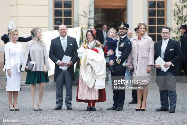 Carolina Pihl Sara Hellqvist Thomas de Toledo Sommerlath Prince Gabriel of Sweden Duke of Dalarna held by Princess Sofia of Sweden and Prince Carl...