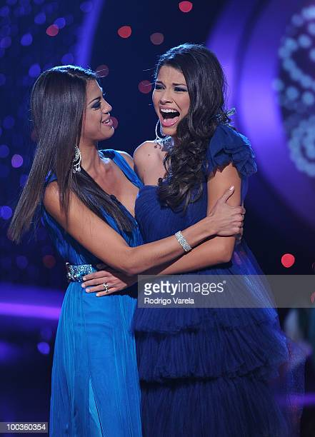 Carolina Ramirez and Ana Patricia Gonzalez on stage at Nuestra Belleza Latina on May 23 2010 in Miami Florida