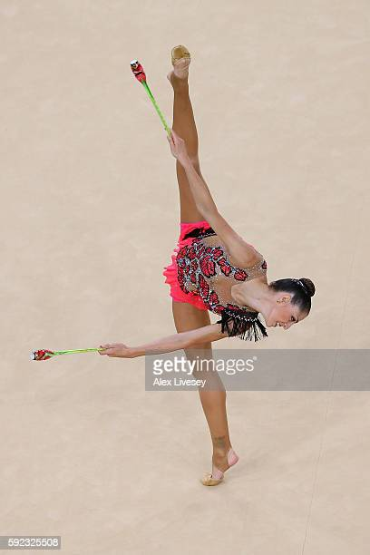 Carolina Rodriguez of Spain competes during the Women's Individual AllAround Rhythmic Gymnastics Final on Day 15 of the Rio 2016 Olympic Games at the...