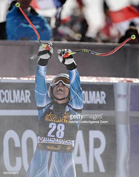 Carolina Ruiz Castillo of Spain celebrates taking 1st place during the Audi FIS Alpine Ski World Cup Women's Downhill on February 23 2013 in Meribel...