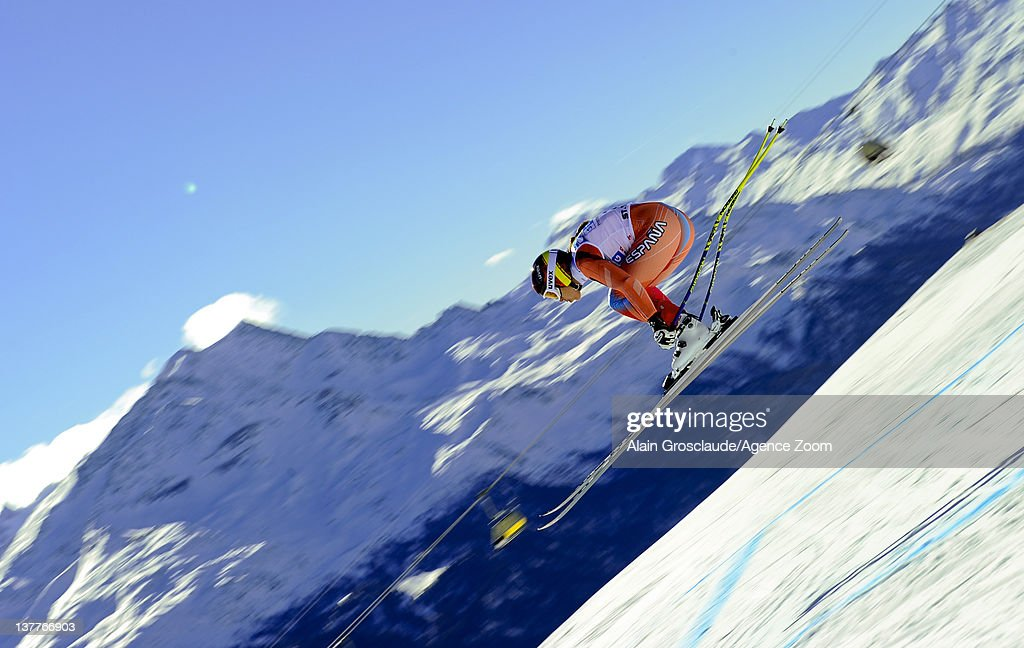 Carolina Ruiz Castillo of Spain skis during the Audi FIS Alpine Ski World Cup Women's Downhill Training on January 26, 2012 in St.Moritz, Switzerland.