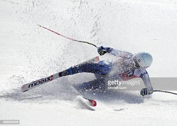 Carolina RuizCastillo of Spain crashes in the finish area of the FIS Alpine Ski World Cup Women's downhill race on March 18 2015 in Meribel France