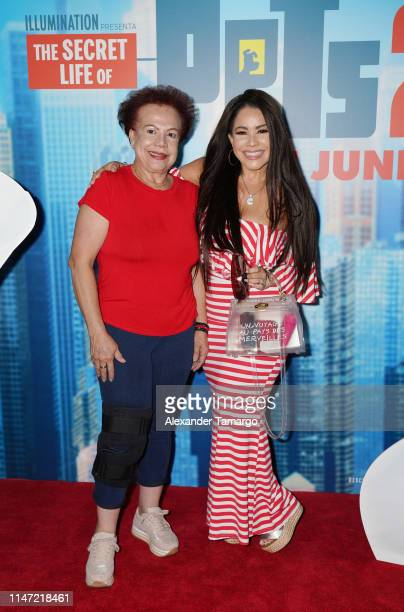 Carolina Sandoval and her mother attend the Telemundo Symphony Screening For The Secret Life Of Pets 2 at CineBistro Doral on June 1 2019 in Miami...