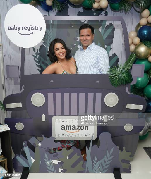 Carolina Sandoval and Nick Hernandez are seen at the baby shower for Chef James Tahhan and Russel Conde on October 26 2019 in Miami Florida