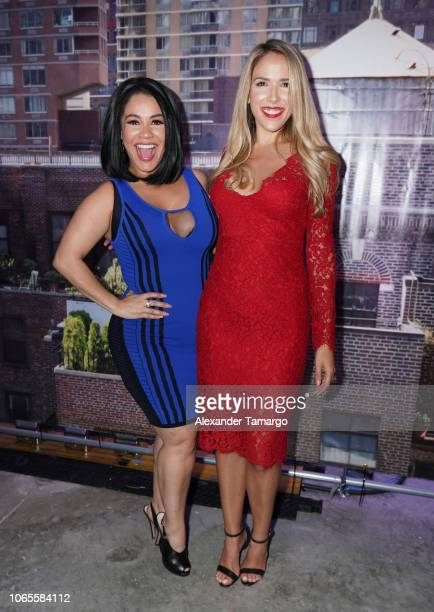 Carolina Sandoval and Sylvia Saenz are seen at the Betty En NY cast reveal press conference at Telemundo Center on November 26 2018 in Miami Florida