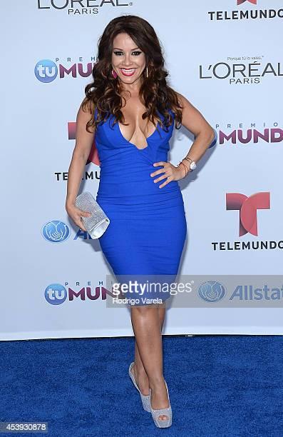 Carolina Sandoval arrives at Premios Tu Mundo Awards at American Airlines Arena on August 21, 2014 in Miami, Florida.