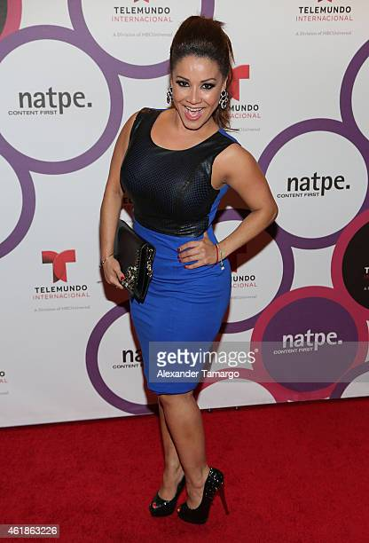 Carolina Sandoval arrives at Telemundo International Welcome Party during NATPE 2015 at Adrienne Arsht Center on January 20, 2015 in Miami, Florida.