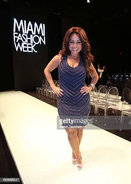 Carolina Sandoval attends Miami Fashion Week at the Miami Beach Convention Center on May 15 2014 in Miami Beach Florida