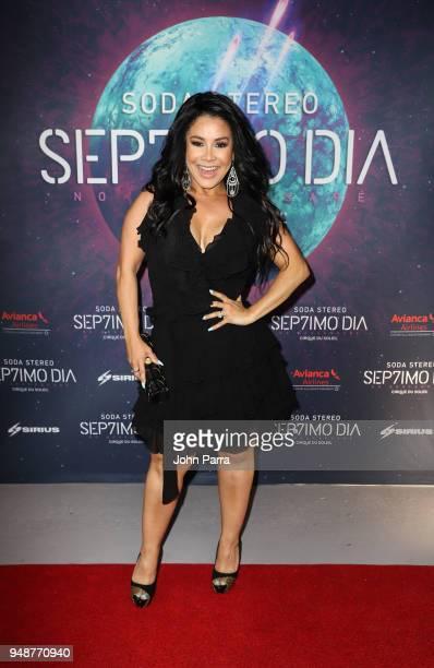 Carolina Sandoval attends Miami Premiere of SEP7IMO DIA No Descansare by Cirque du Soleil at Watsco Center on April 18 2018 in Coral Gables Florida