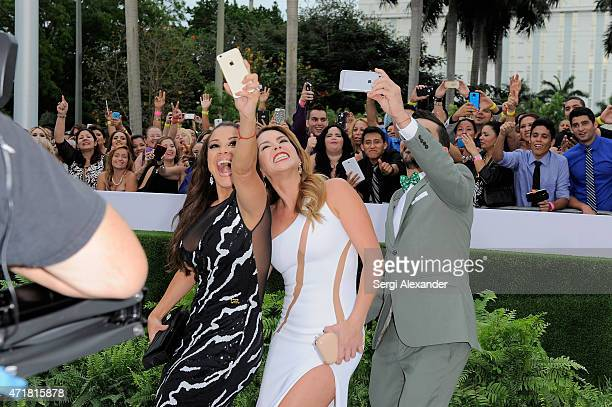 "Carolina Sandoval, Erika De La Vega and Juan Manuel Cortes attend the 2015 Billboard Latin Music Awards ""Premios Billboard"" at BankUnited Center on..."