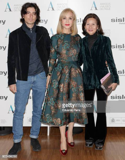 Carolina Thieu Carmen Lomana and Carlos Chavarri attend the 'El armario de Carmen Lomana' exhibition photocall at Costume museum on February 21 2018...