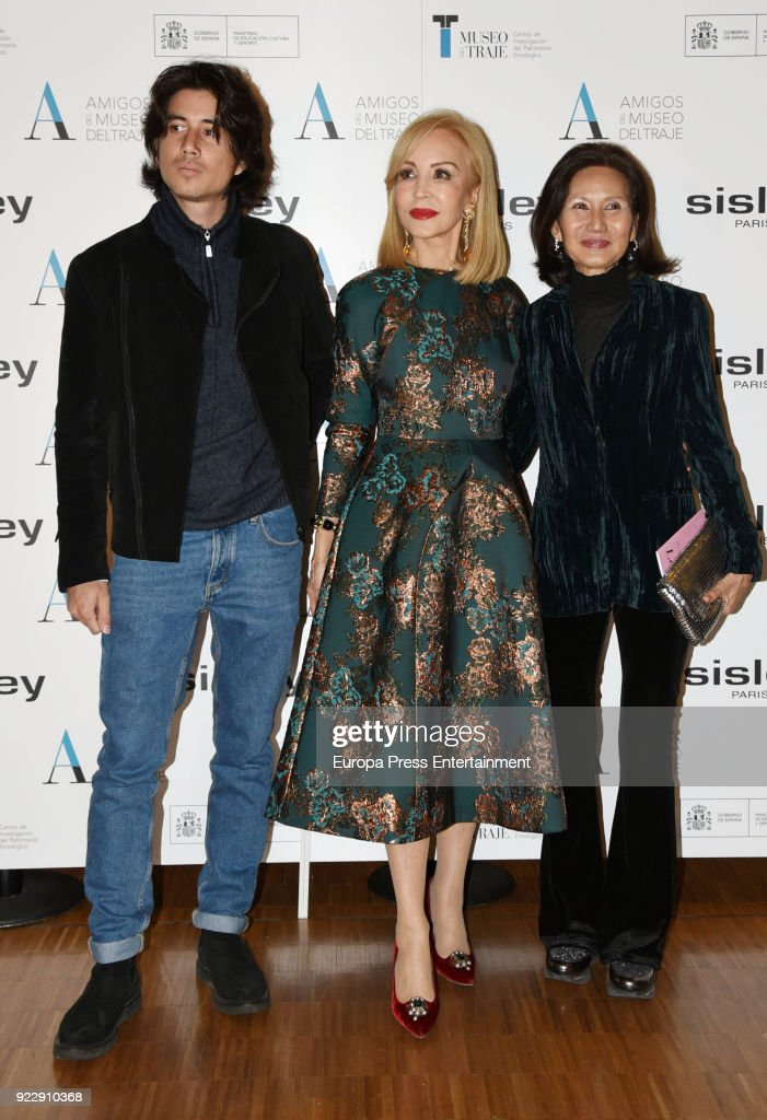 Carolina Thieu (R), Carmen Lomana and Carlos Chavarri attend the 'El armario de Carmen Lomana' opening exhibition at Costume museum on February 21, 2018 in Madrid, Spain.