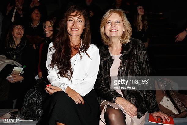 Carolina Vera and Sabine Postel attend the Minx by Eva Lutz show during the MercedesBenz Fashion Week Berlin Autumn/Winter 2015/16 at Brandenburg...