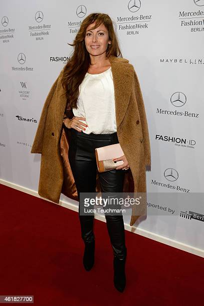 Carolina Vera attends the Marc Cain show during the MercedesBenz Fashion Week Berlin Autumn/Winter 2015/16 at Brandenburg Gate on January 20 2015 in...