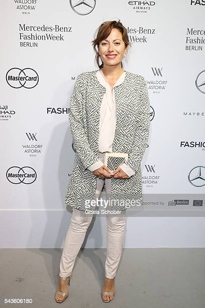 Carolina Vera attends the Minx by Eva Lutz show during the Mercedes-Benz Fashion Week Berlin Spring/Summer 2017 at Erika Hess Eisstadion on June 29,...