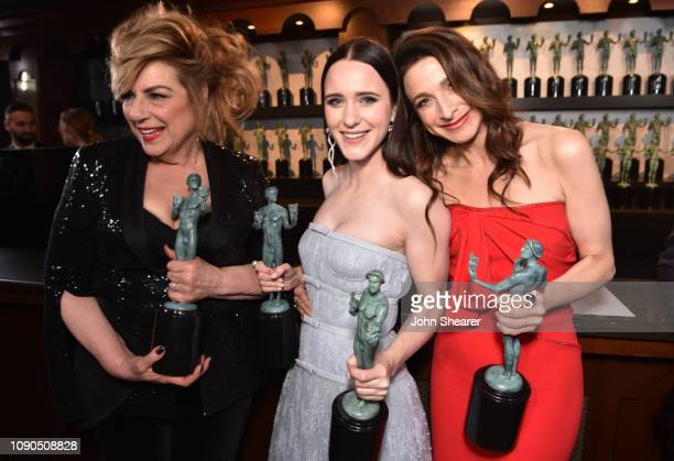 Caroline Aaron Rachel Brosnahan and Marin Hinkle winners of Outstanding Performance by an Ensemble in a Comedy Series for 'The Marvelous Mrs Maisel'...