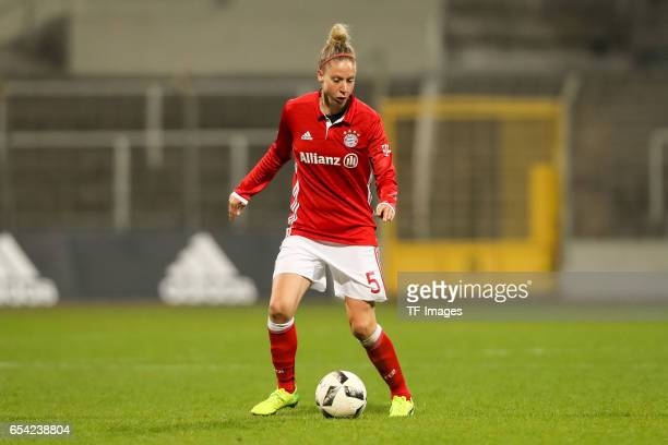 Caroline Abbe of Bayern Muenchen controls the ball during the Women's DFB Cup Quarter Final match between FC Bayern Muenchen and VfL Wolfsburg at the...