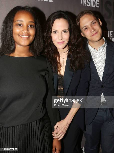 Caroline Aberash Parker mother MaryLouise Parker and son William Atticus Crudup pose at the opening night of the new play The Sound Inside on...