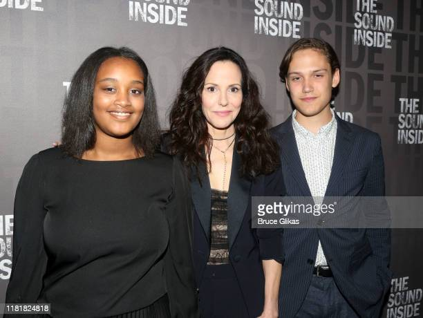 Caroline Aberash Parker mother MaryLouise Parker and son William Atticus Parker pose at the opening night of the new play The Sound Inside on...