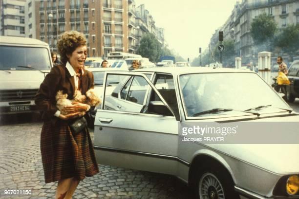 Caroline Aguilar lors du tournage du film 'Mesrine' realise par Andre Genoves le 26 janvier 1984 a Paris France