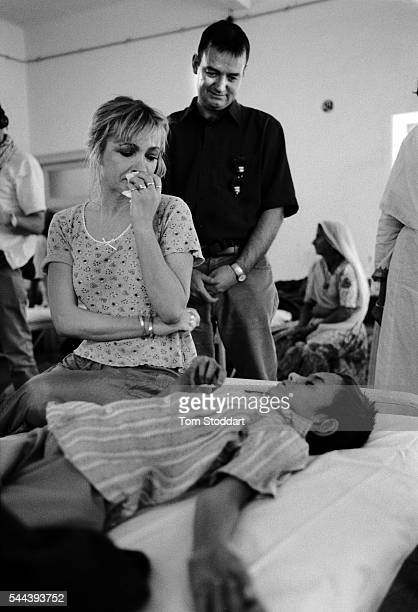 Caroline Aherne and Craig Cash at the Shree Bhairav Eye Hospital during a visit to promote the work of Sight Savers in India in February 1999 in...