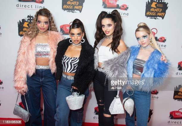 Caroline Alvares Lauren Rammell Sophia Saffarian and Yasmin Broom of Four of Diamonds attend the KISS Haunted House Party 2019 at The SSE Arena...