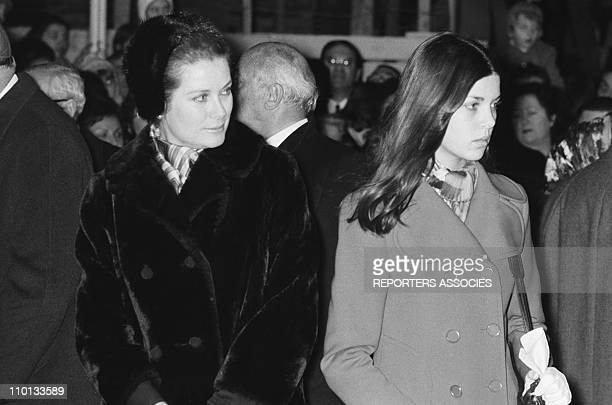 Caroline and Grace of Monaco with family at the traditionnal religious festival ste devote on January 29th1971